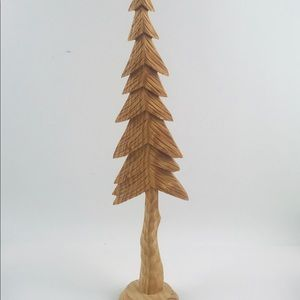 """16"""" Hand Carved Wooden Pine Tree Thin Christmas"""